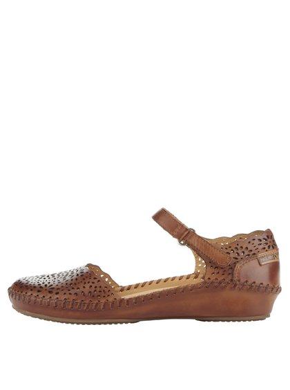 Sandale maro Pikolinos P. Vallarta din piele cu model cu perforații