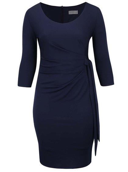 Tmavě modré plus size pouzdrové šaty s uzlem Goddiva