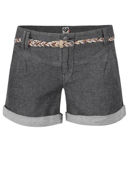 Pantaloni scurți gri închis Ragwear Heaven din denim cu curea subțire
