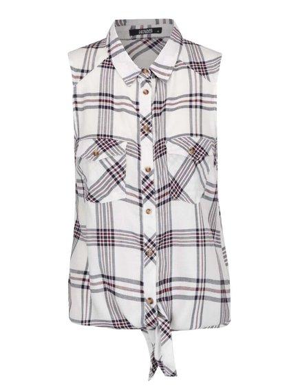 Krémová kostkovaná košile bez rukávů Haily´s Niky