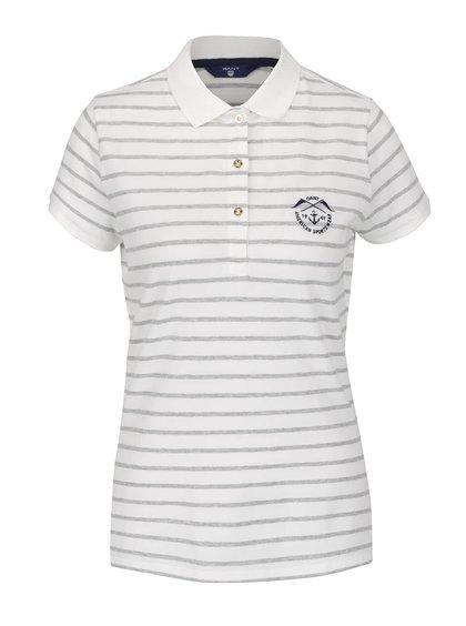 Krémové dámské pruhované polo tričko GANT Pique