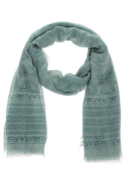Zelený dlouhý vzorovaný šátek Pieces Sandy