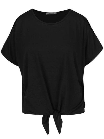 Černé volné tričko s průstřihy na ramenou a uzlem Haily´s Nina