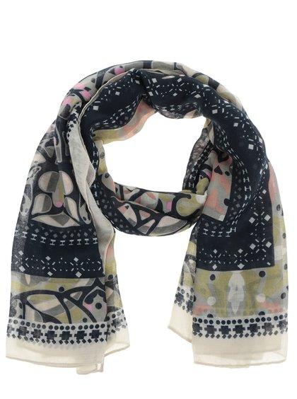 Krémovo-modrý dlouhý vzorovaný šátek sPieces Leona