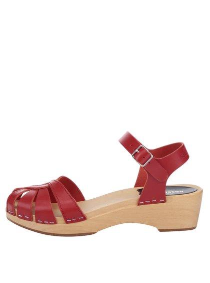 Sandale sabot roșii din piele Swedish Hasbeens Cross Strap Debutant