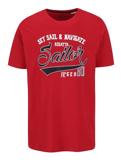 Tricou roșu JP 1880 cu aplicație brodată și print