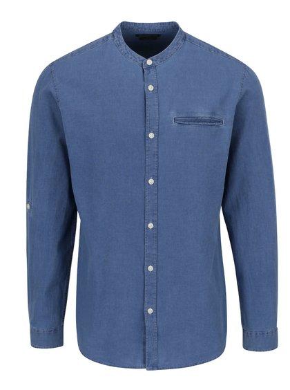 Cămașă albastră Jack & Jones Benny slim fit din denim cu guler tunică