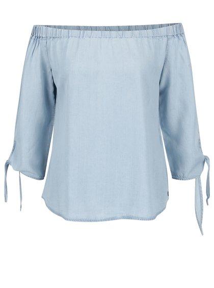 Bluză albastră ONLY India cu decolteu pe umeri