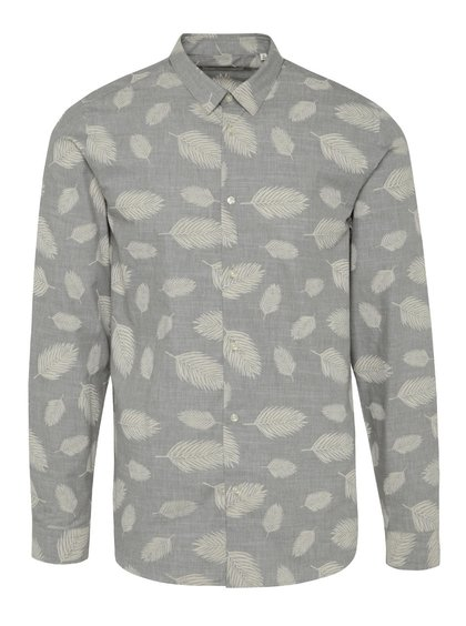 Cămașă gri Jack & Jones Leaf slim fit din bumbac cu model