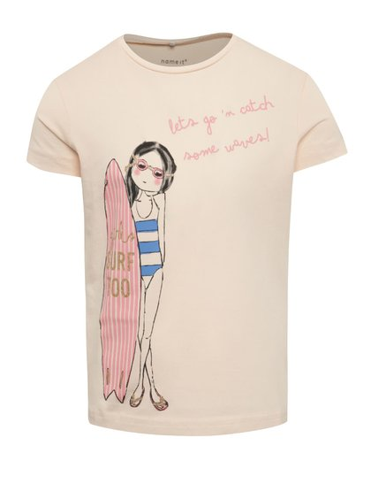 Světle růžové holčičí tričko s potiskem name it Jigirl