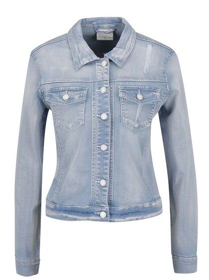 Modrá džínová bunda s potrhaným efetem VERO MODA Mora