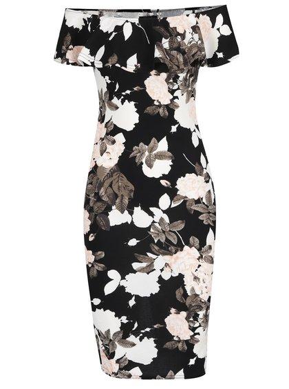 Krémovo-černé květované šaty s odhalenými rameny Ax Paris