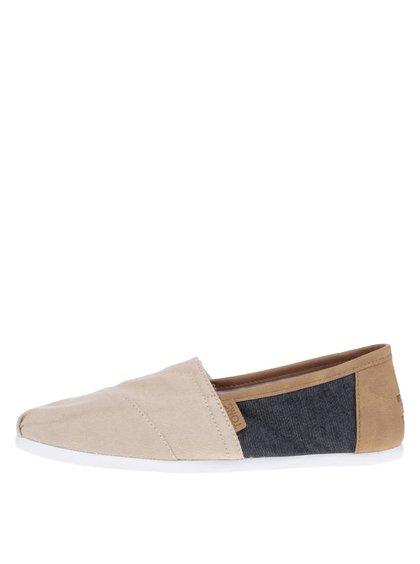 Modro-béžové pánské loafers s hnědými detaily TOMS