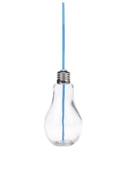 Malá sklenice s modrým brčekm ve tvaru žárovky Dakls