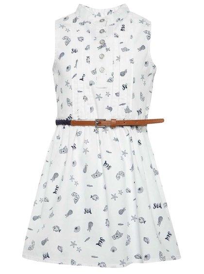 Rochie albă Bóboli cu model și guler tunică