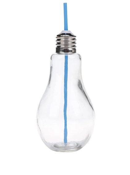 Velká sklenice s modrým brčekm ve tvaru žárovky Dakls