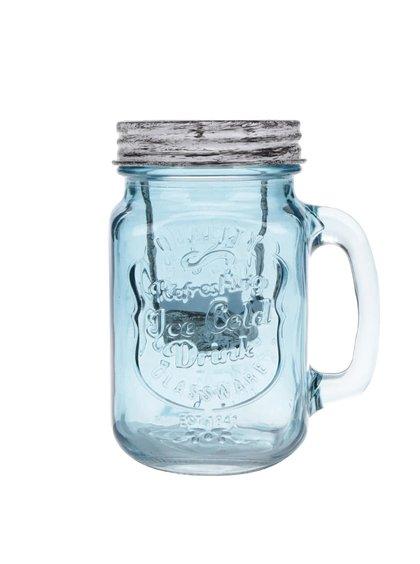 Modrý skleněný svícen Dakls