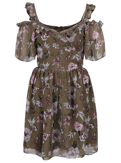 Khaki květované šaty s odhalenými rameny Miss Selfridge