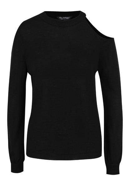 Černý svetr s průstřihem na rameni Miss Selfridge