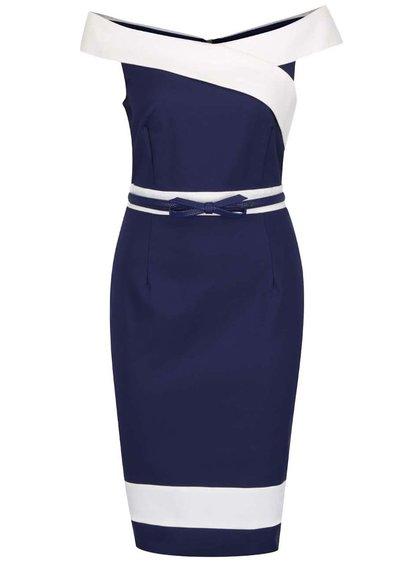 Krémovo-modré šaty s tenkým páskem Little Mistress