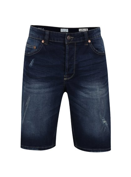 Pantaloni scurți albastru închis ONLY & SONS Loom slim fit din denim cu aspect prespălat