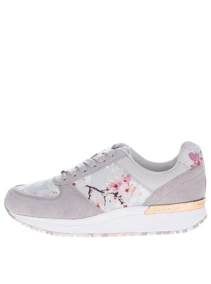 Pantofi sport gri din piele întoarsă Ted Baker Esmay cu detalii florale