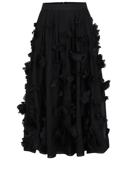 Černá midi sukně s našitými květy French Connection Agnes