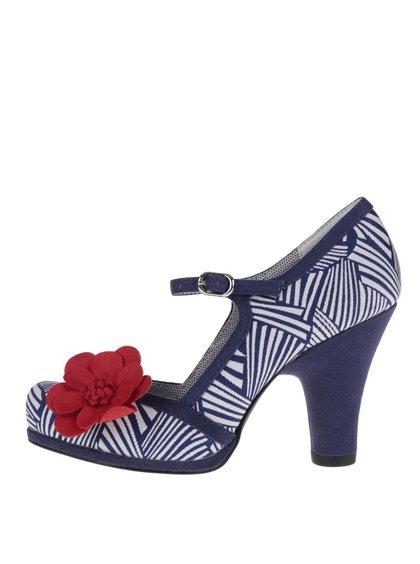 Krémovo-modré vzorované lodičky s červenou ozdobnou květinou Ruby Shoo Tanya
