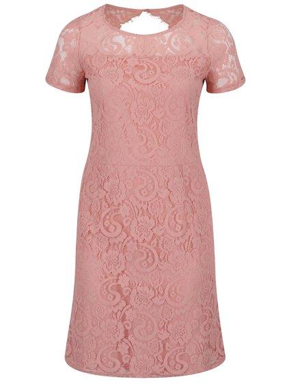 Světle růžové krajkové šaty s průstřihem na zádech Dorothy Perkins Curve