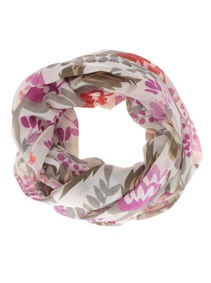 Béžový dutý vzorovaný šátek Pieces Stay