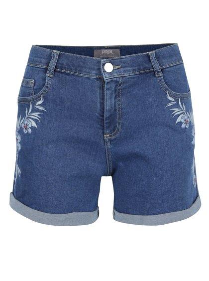 Modré džínové kraťasy s květovanou výšivkou Dorothy Perkins