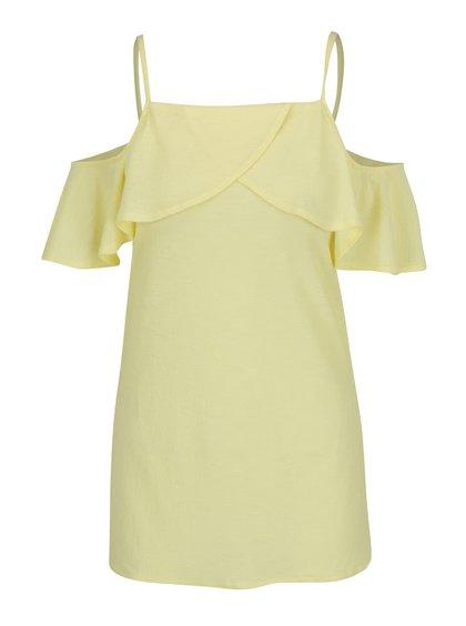 Světle žlutá halenka s odhalenými rameny Dorothy Perkins