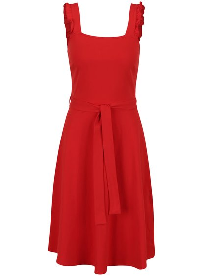 Červené šaty s mašlí kolem pasu Dorothy Perkins