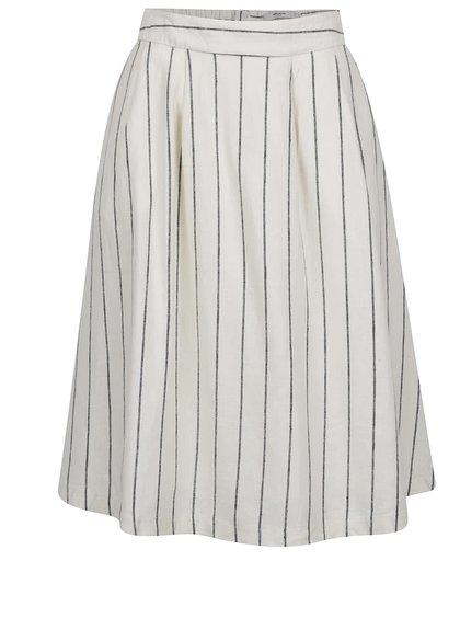 Krémová lněná pruhovaná sukně VERO MODA Naja