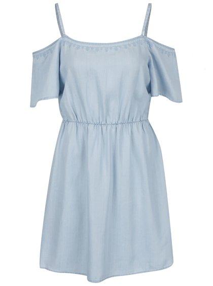 Modré šaty s odhalenými rameny VERO MODA Zoe