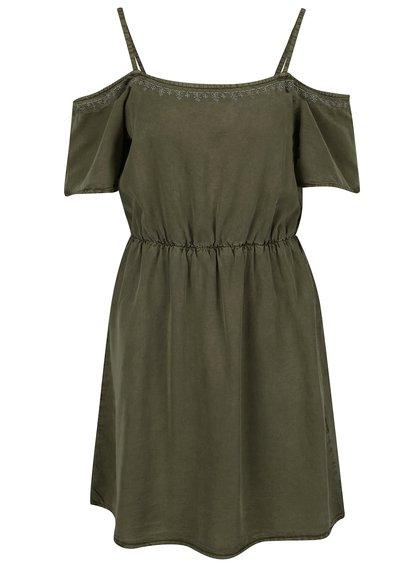 Zelené šaty s odhalenými rameny VERO MODA Zoe