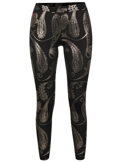 Colanți negri Mania fitness wear Oriental cu model paisley auriu