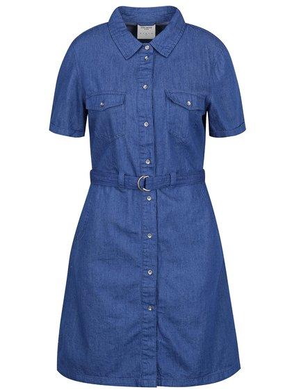 Tmavě modré džínové košilové šaty s páskem VERO MODA Vera