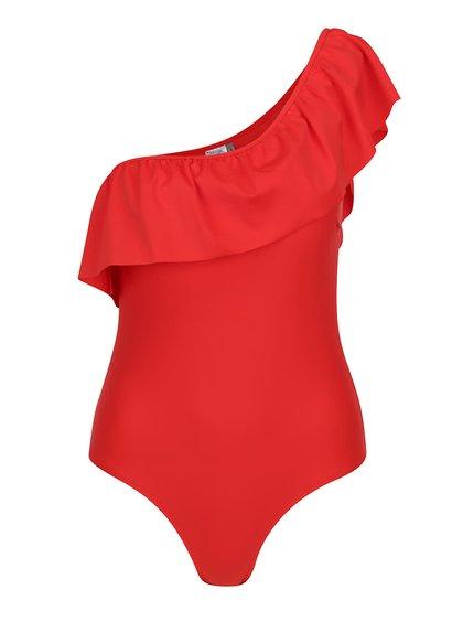 Červené jednodílné plavky přes jedno rameno s volány VERO MODA Ella