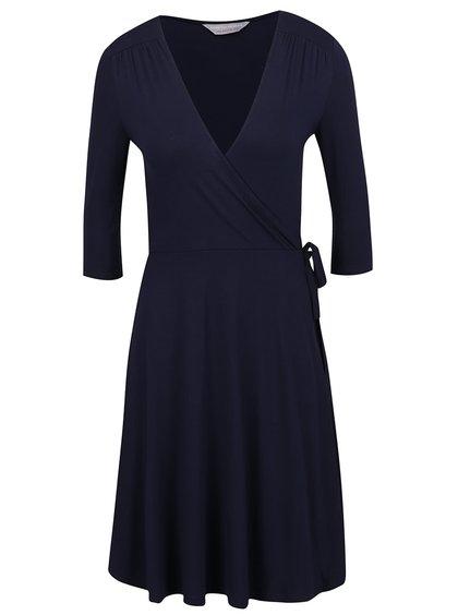 Tmavě modré překládané šaty Dorothy Perkins Petite