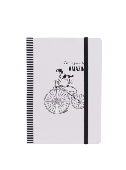 Černo-bílý linkovaný zápisník s motivem psa na kole Galison A5
