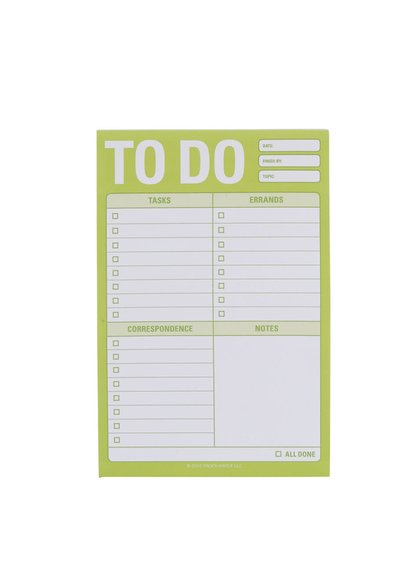 Bílo-zelený plánovací blok se samolepicími papírky Knock Knock A6