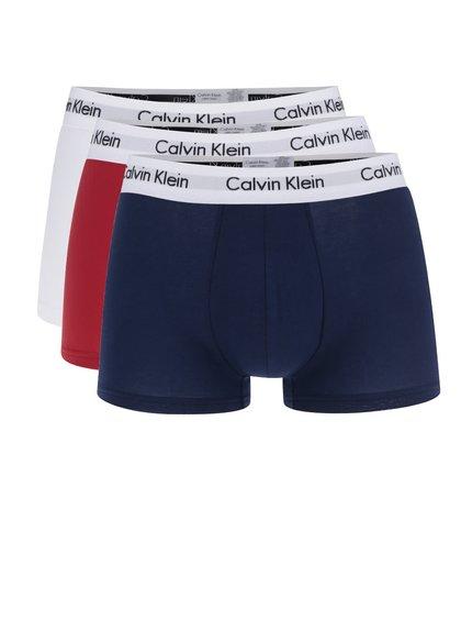 Sada tří boxerek v bílé, červené a modré barvě Calvin Klein
