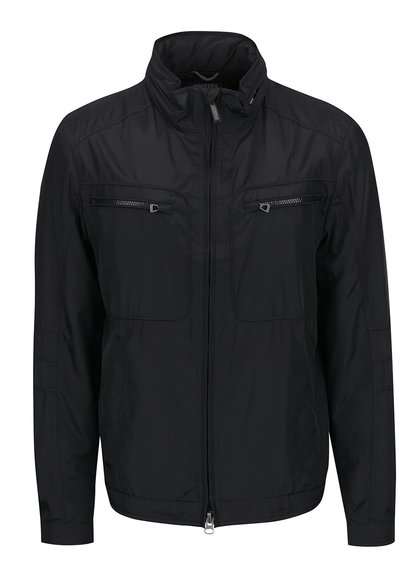 Černá pánská lehká bunda se skrytou kapucí Geox