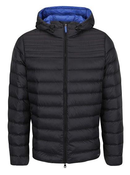 Modro-černá pánská prošívaná bunda s kapucí Geox