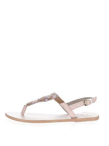 Sandale roz prăfuit Pieces Carmen din piele