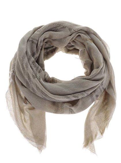 Béžový šátek s roztřepeným lemem Pieces Lilja