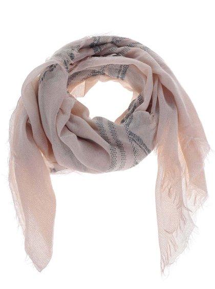 Světle růžový šátek s roztřepeným lemem Pieces Lilja
