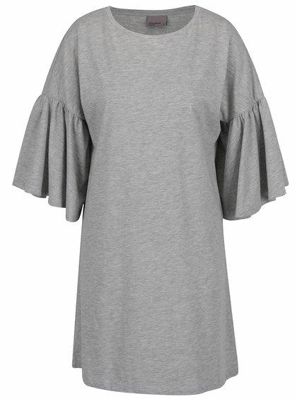 Šedé volné šaty s volánovými rukávy VERO MODA Matti