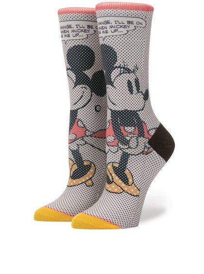 Růžové dámské vzorované ponožky Stance Tick Tock Minnie